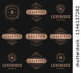 luxury logos templates set ... | Shutterstock .eps vector #1146137282