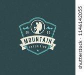 climber logo emblem vector... | Shutterstock .eps vector #1146142055