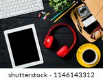 creative desk table with alot...   Shutterstock . vector #1146143312