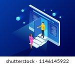 isometric alarm system home.... | Shutterstock .eps vector #1146145922
