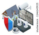 isometric alarm system home.... | Shutterstock .eps vector #1146145925