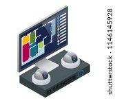 isometric alarm system home....   Shutterstock .eps vector #1146145928