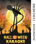 halloween zombie singing party... | Shutterstock .eps vector #1146148388