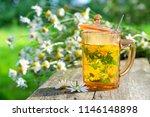 healthy herbal tea cup and... | Shutterstock . vector #1146148898