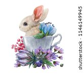 Stock photo watercolor illustration with a rabbit in a cup and flowers excellent for the design of postcards 1146149945