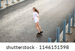 young beautiful blonde girl... | Shutterstock . vector #1146151598