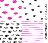 hand drawn eye  pink lips... | Shutterstock .eps vector #1146160658
