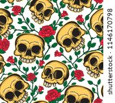 seamless pattern of skulls and... | Shutterstock .eps vector #1146170798
