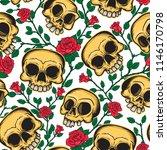 seamless pattern of skulls and... | Shutterstock .eps vector #1146170798