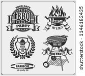 bbq and grill labels set.... | Shutterstock .eps vector #1146182435