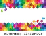 colorful jigsaw puzzles and... | Shutterstock .eps vector #1146184025