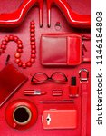 red woman accessories with... | Shutterstock . vector #1146184808