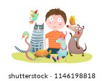 kid boy and pet shop. fun... | Shutterstock .eps vector #1146198818
