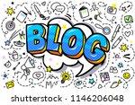 concept of blogging. golden...