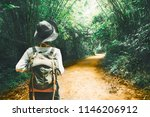 traveler woman with backpack... | Shutterstock . vector #1146206912