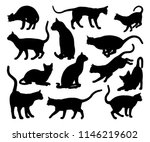 Stock vector a cat silhouettes pet animals graphics set 1146219602