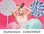 lovely girl with  blonde hair... | Shutterstock . vector #1146244025