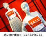 mannequin with sale shirt  ... | Shutterstock . vector #1146246788
