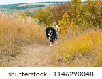 boy running around with big dog ... | Shutterstock . vector #1146290048