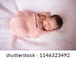 newborn sleep in cloth wrap... | Shutterstock . vector #1146323492