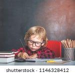 back to school. happy smiling... | Shutterstock . vector #1146328412
