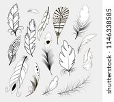 tribal feather bird nature wing ... | Shutterstock .eps vector #1146338585