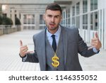 businessman rocking golden... | Shutterstock . vector #1146355052