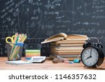school books and stationery on... | Shutterstock . vector #1146357632