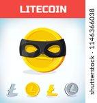 litecoin in zorro mask.... | Shutterstock .eps vector #1146366038