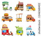 set of street vehicles  buses ... | Shutterstock .eps vector #1146368402
