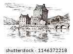 vintage castle in scotland.... | Shutterstock .eps vector #1146372218