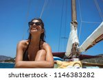 beautiful happy young woman on... | Shutterstock . vector #1146383282
