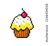 cupcake with cream and cherry.... | Shutterstock .eps vector #1146434018