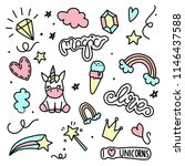 unicorn and magic doodles. cute ... | Shutterstock .eps vector #1146437588