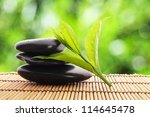 zen stones with green leaves... | Shutterstock . vector #114645478