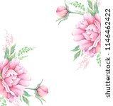 watercolor drawing bouquets... | Shutterstock . vector #1146462422