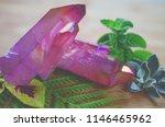 pink aura quartz cluster  rose...   Shutterstock . vector #1146465962