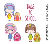 bags to school with little... | Shutterstock .eps vector #1146475688