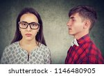 young serious woman in glasses... | Shutterstock . vector #1146480905
