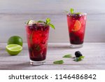 blackberry mojito cocktail with ... | Shutterstock . vector #1146486842