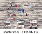 group of three people with... | Shutterstock . vector #1146487112