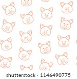 the faces of the pigs with pink ... | Shutterstock .eps vector #1146490775