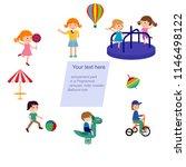 cheerful children play outdoors.... | Shutterstock .eps vector #1146498122