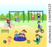 cheerful children play outdoors.... | Shutterstock .eps vector #1146498125