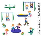 cheerful children play outdoors.... | Shutterstock .eps vector #1146498128