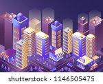 modern city night isometry... | Shutterstock .eps vector #1146505475