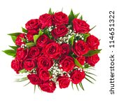 Stock photo big bunch bouquet of red roses isolated on the white background 114651322