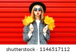 happy cool girl with red lips... | Shutterstock . vector #1146517112