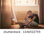 young poor man  hard working... | Shutterstock . vector #1146522755