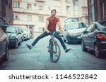 young man lost control over his ... | Shutterstock . vector #1146522842